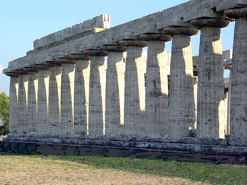Viewof The Younger Hera Temple Through The Columns Of The