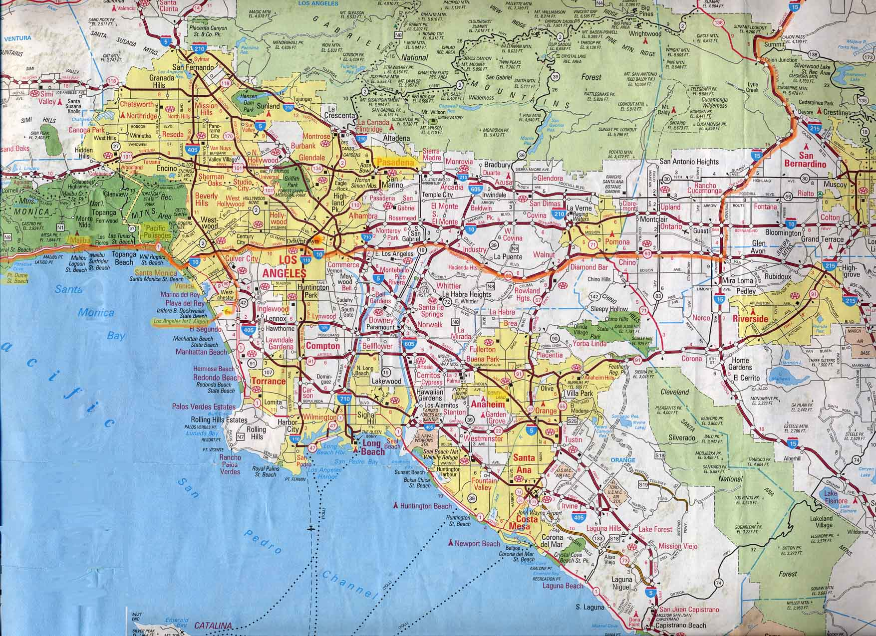 map los angeles large detailed tourist map of los angeles large