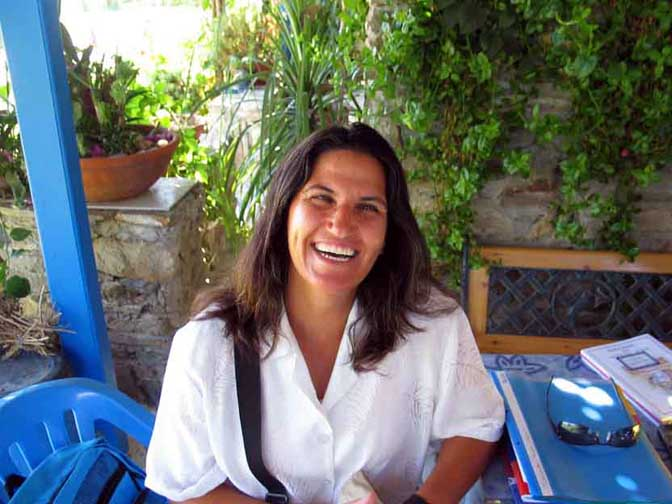 dina karabatsi the most cheerful landlady in the cyclades we